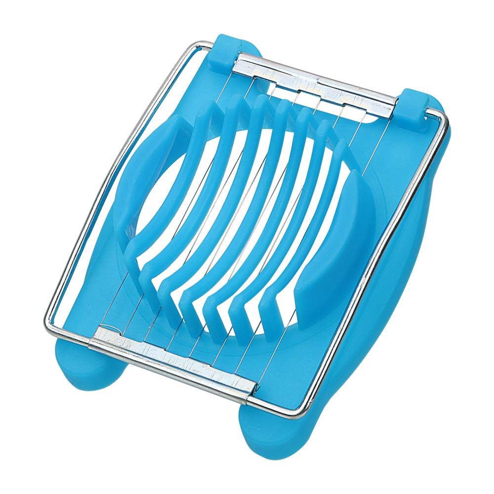 Manual Fruit Egg Slicers Stainless Steel Egg Cutter (Blue) Holdream