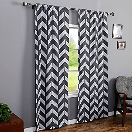 RHF Chevron Curtains Polyester Cotton Grey And White For Living Room