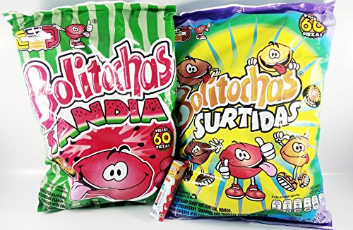 Pack of 2 bolitochas, Watermelon and MIX Flavor (Sabor Sandia y Surtido) 60 Pieces Mexican Candy with Free Chocolate Kinder Bar Included