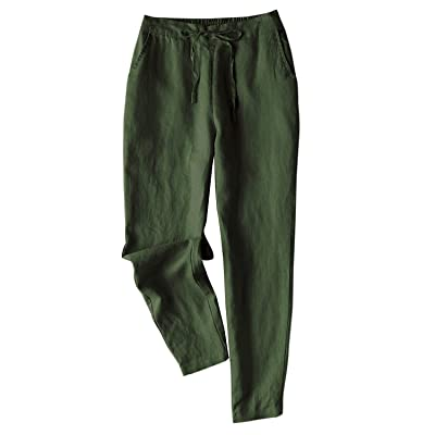 IXIMO Women's Tapered Pants 100% Linen Drawstring Back Elastic Waist Pants Trousers with Pockets at Women's Clothing store
