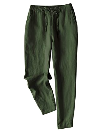 62b46eed8 IXIMO Women's Tapered Pants 100% Linen Drawstring Back Elastic Waist Pants  Trousers with Pockets (