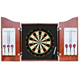 Dart Board Cabinet Set with 18Inch Bristle Dartboard, and Ready-to-Play Bundle with Steel Tip Darts Set