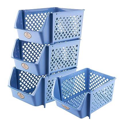 XIAOJUNJUN Cajas De Almacenaje Cesta De Almacenamiento De Plástico Apilable Juguete Bocadillo De Verduras Y Frutas