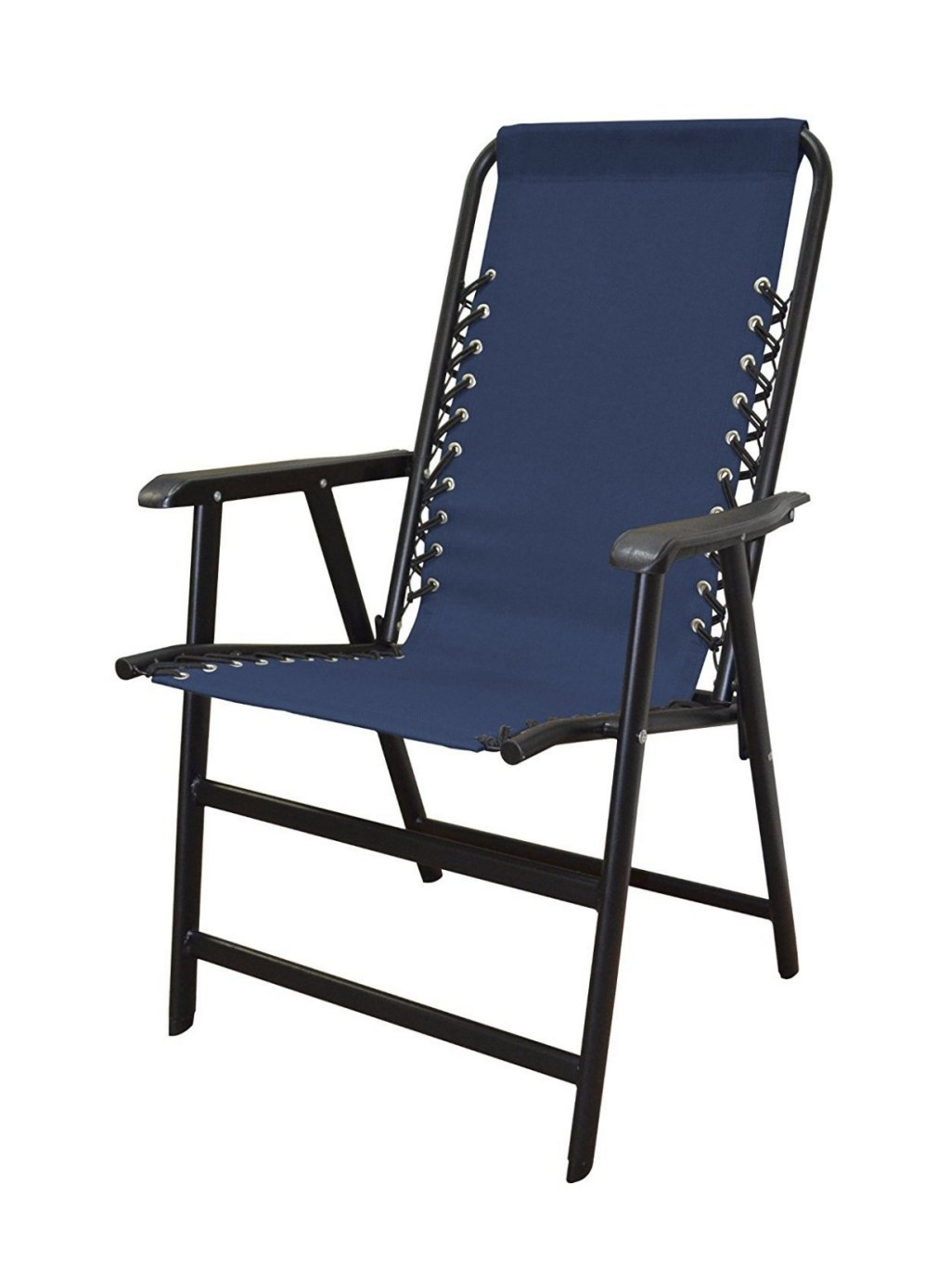 koonlert14 Outdoor Patio Folding Double Bungee System Chair Sturdy Steel Frame Lightweight Comfortable Durable Textaline Fabric Porch Garden Furniture - Blue #1940