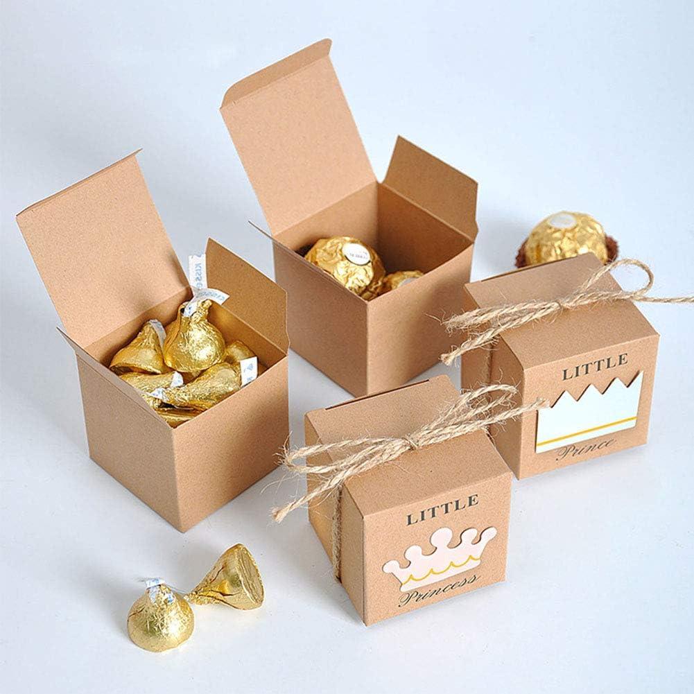 Bapteme Elegant Boite /à Cadeau Naissa Bo/îtes de Bonbons au Chocolat de Petits Bijoux pour F/ête de b/éb/é Communion Sumshy 25 Pcs Prince Bo/îte /à Drag/ées Bonboni/ères Bapteme avec Corde de Chanvre