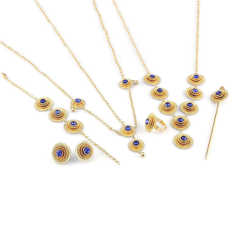 Fashion Habesha Ethiopian Jewelry Set 24k Gold Filled Colorful Stone Jewelry African Bridal Jewelry Sets