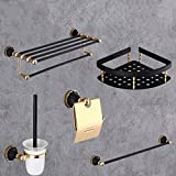 GuoEY Black Gold Dry-Towels WC brush Bathroom Accessories Space Aluminum five sets of Game plateau of Decoration bathroom