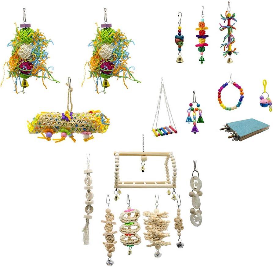 Amuzocity 18 Piezas De Juguetes para Pájaros Swing Hanging Bell Cage Hammock Climbing Toy