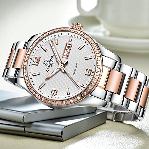 Couple Stainless Steel Automatic Mechanical Watch Sapphire Glass Watches for Her or His Gift Set 2 (Rose Gold/White) by MASTOP (Image #4)
