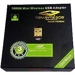 BROTECH Terabyte Wireless Network USB Adapter Fast WiFi Receiver Desktop PC  Black