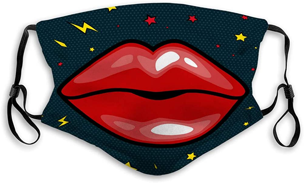 Breathable Mouth Shield with Elastic Ear Loop Fashion Girls Lips with red Lipstick in Cartoon Mouth Covers