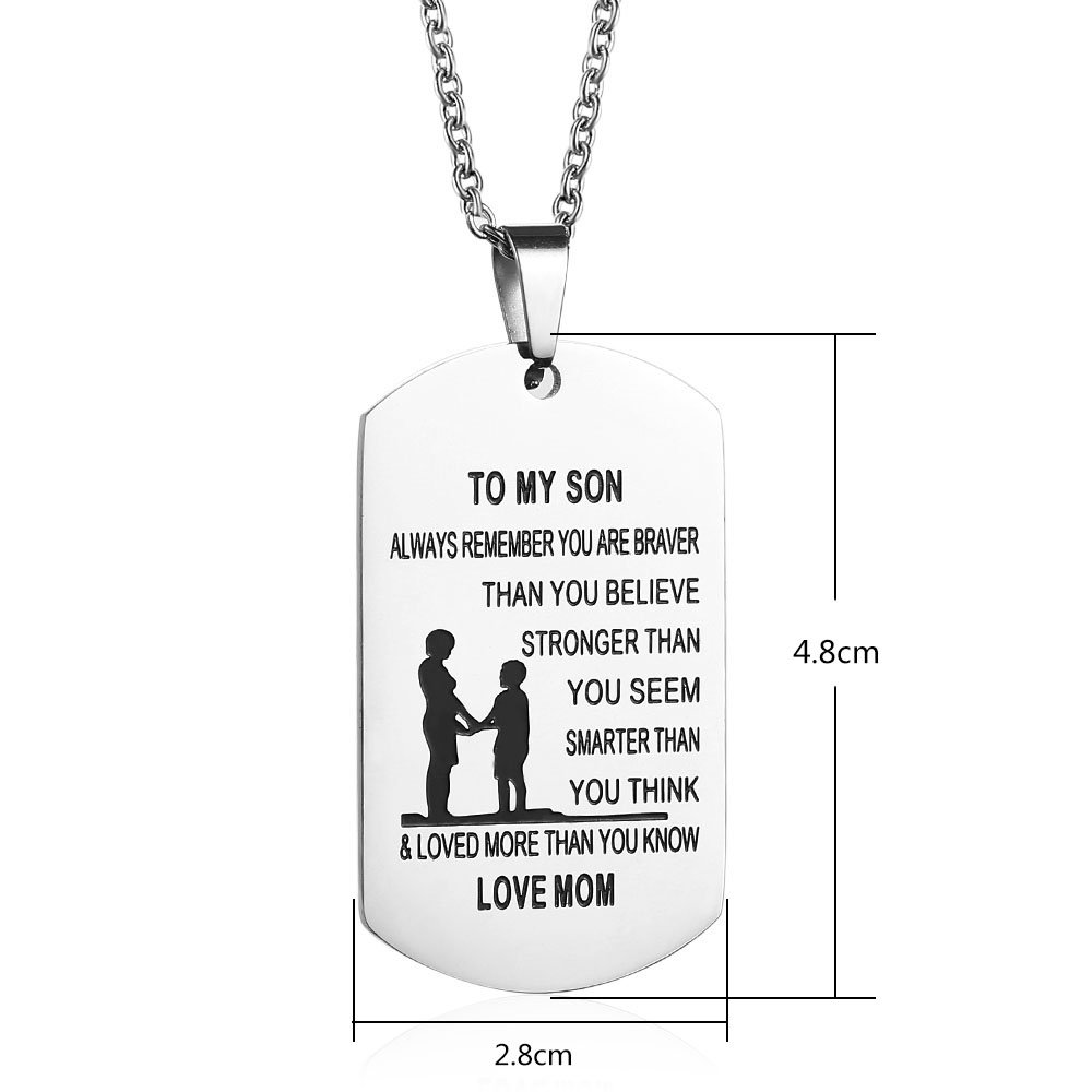 GAGAFEEL Dad Mom to Son Daughter Dogtags Stainless Steel Pendant Necklace Hand Stamped Unisex Family (Mum to Son)