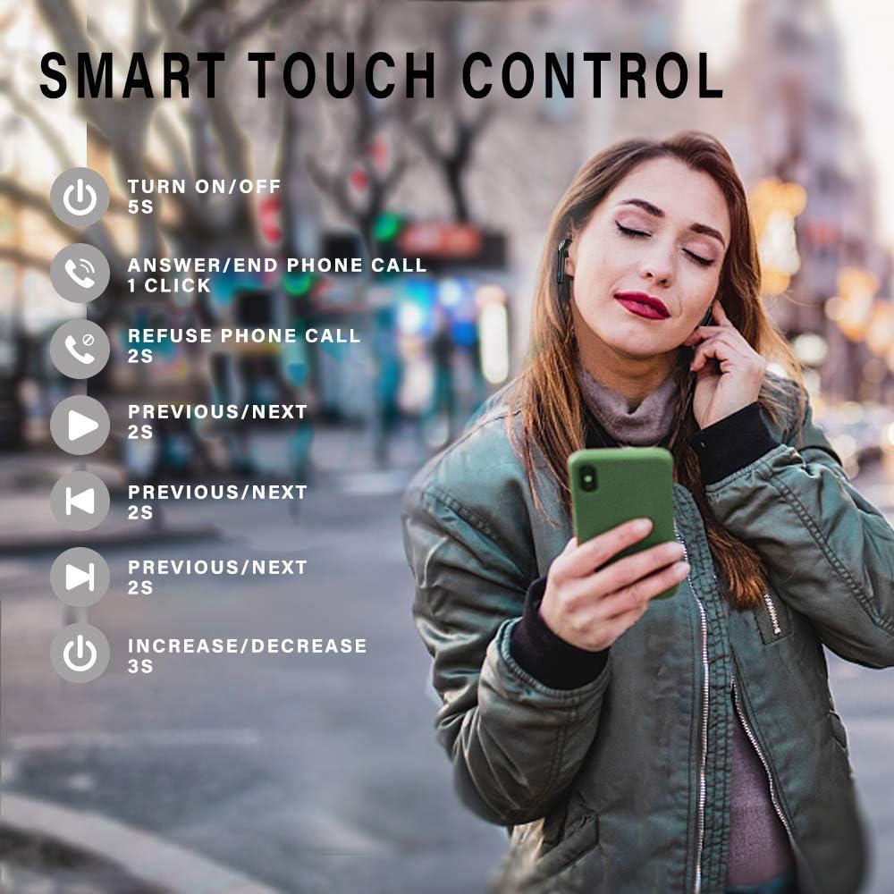 Donerton Kabellose Kopfh/örer mit Noise Cancelling Integriertem Mikrofon 8Std Allein Wiedergabezeit (Schwarz) Bluetooth Kopfh/örer In Ear IPX7 Wasserdicht mit Mini Ladekoffer Bluetooth Kopfh/örer