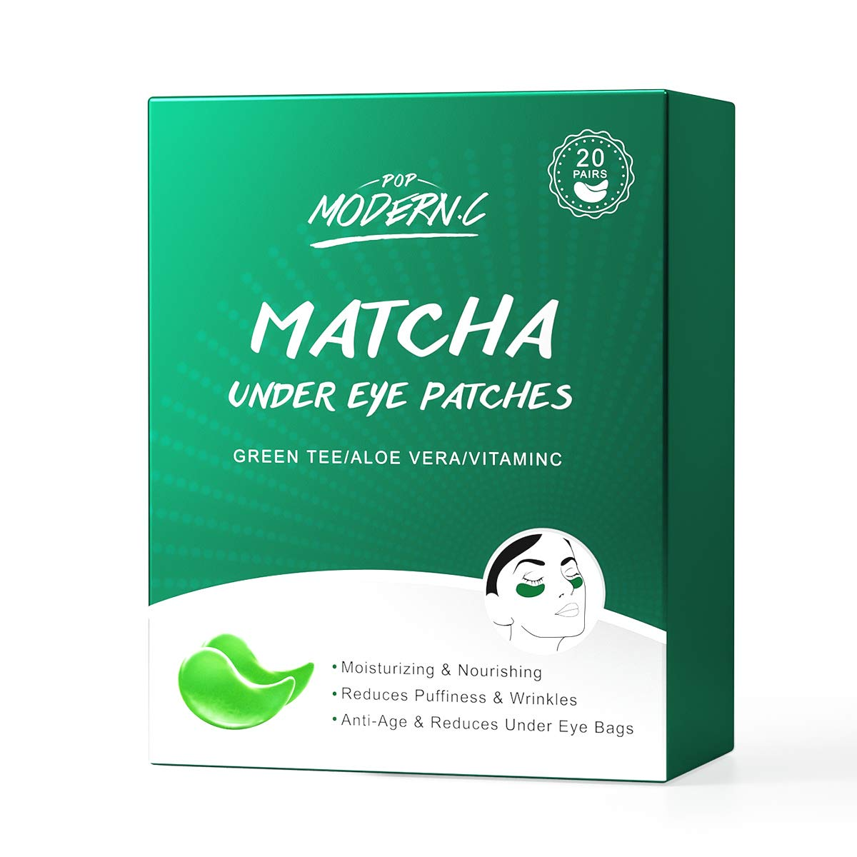 Under Eye Patches Matcha Under Eye Mask At Home Spa Skin Care Treatment Collagen Aloe Green Tea Eye Treatment Masks Eye Pads for Dark Circles Reducing Wrinkle & Puffiness Gift for Women Mother