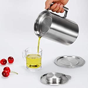 Food Grade Stainless Steel Bacon Grease Container with Strainer, 1.8L /1.9 Quart Oil Pot Cooking Oil Filter Keeper Storage Can for Bacon, Kitchen Cooking or Frying Oil