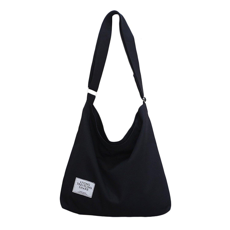 071b3d7421 ZIIPOR Women s Canvas Crossbody Bag Casual Hobo Bag Shoulder Bag Shopping  Bag (Black)  Amazon.ca  Shoes   Handbags