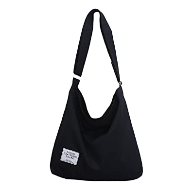 059c221214 ZIIPOR Women s Canvas Crossbody Bag Casual Hobo Bag Shoulder Bag Shopping  Bag (Black)