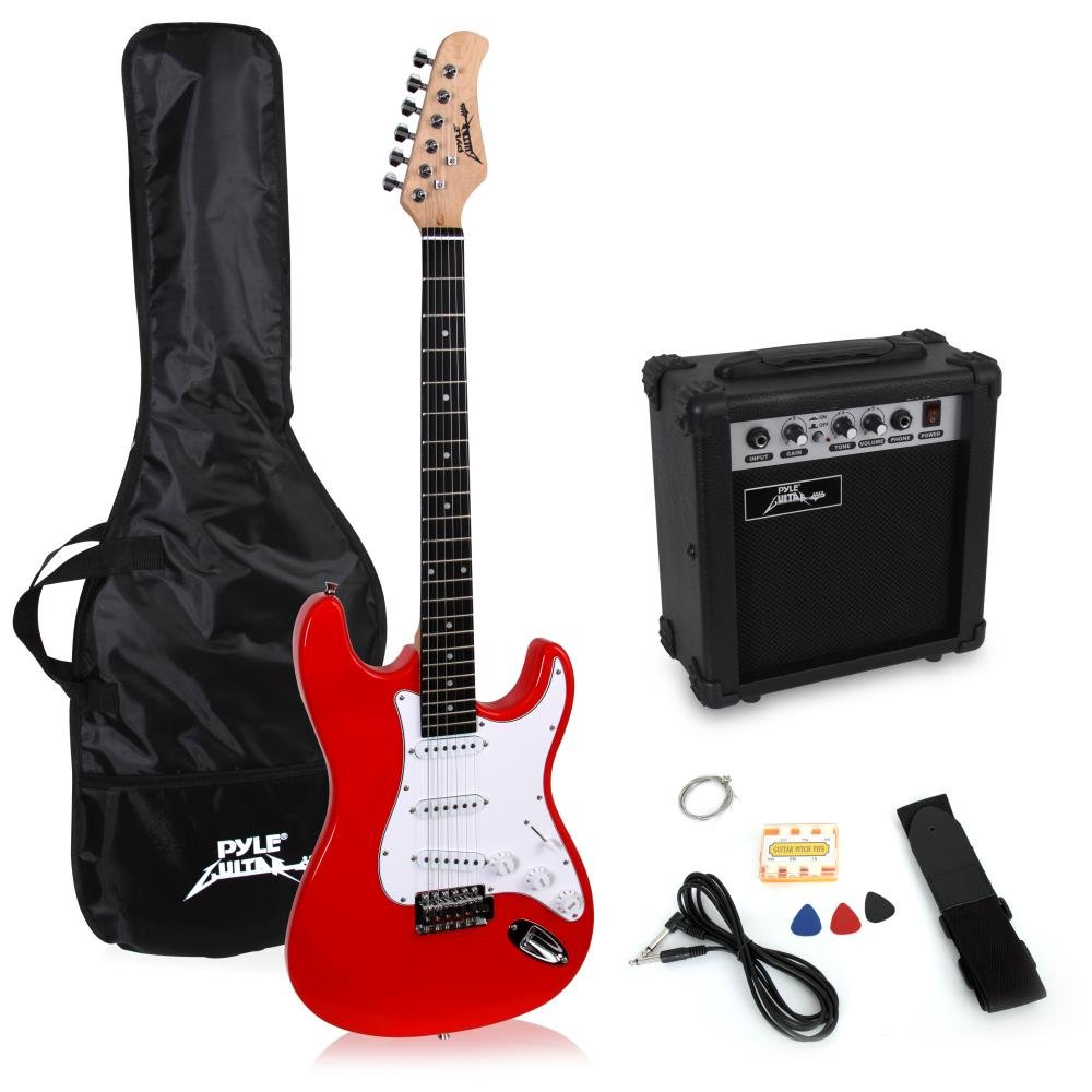 PylePro Full Size Electric Guitar Package w/Amp, Case & Accessories, Electric Guitar Bundle, Beginner Starter Package, Strap, Tuner, Pick, Ready to Use Out of the Box, Sunburst (PEGKT15SB) Pyle-Pro