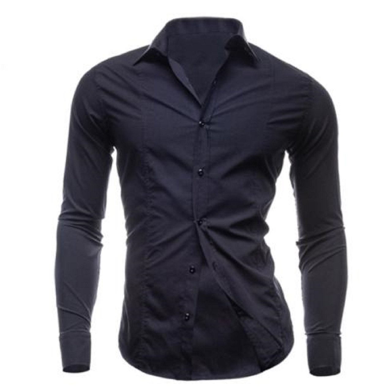Hoffnung Solid Slim Casual Fashion Business Shirt Trend for Men M, Black.