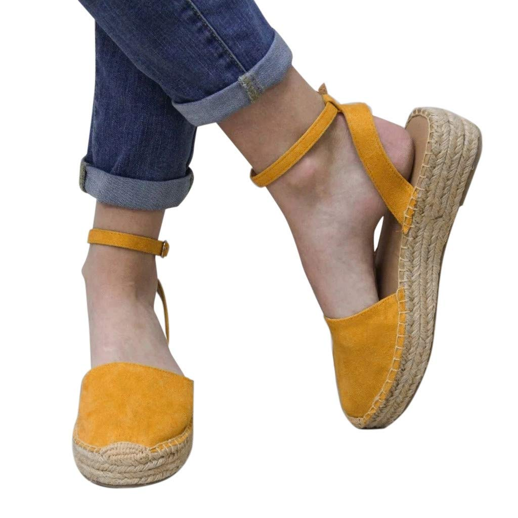 Sandals for Women Strappy Thick-Bottom Sandals Platform Closed Toe Casual Weaving Shoes(43, Yellow)