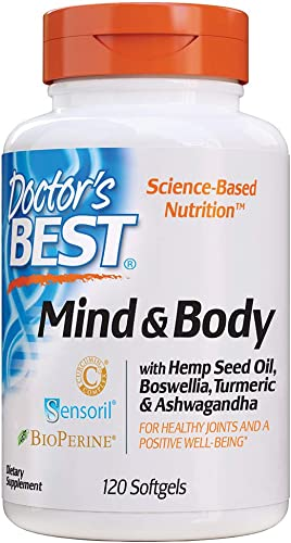 Doctor s Best Mind Body with Hemp Seed Oil, Boswellia, Turmeric Ashwagandha, Promote a Healthy Mood, Joints and mobility120Count