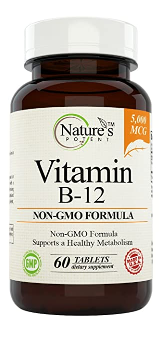 Vitamin B-12, 5000mcg, Non-GMO Supplement with Methylcobalamin (Methyl B12) - Best Support for Boosting Metabolism & Increase ENERGY Levels – Offered By Nature's Potent. (60 Tablets)