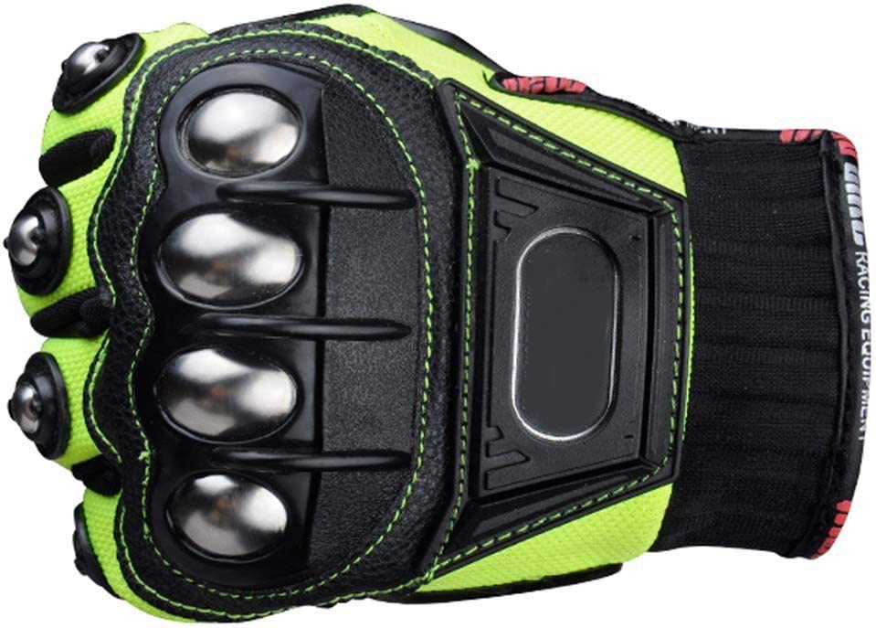Steel Outdoor Reinforced Brass Knuckle Motorcycle Motorbike Powersports Racing Textile Safety Gloves /… Medium, Black