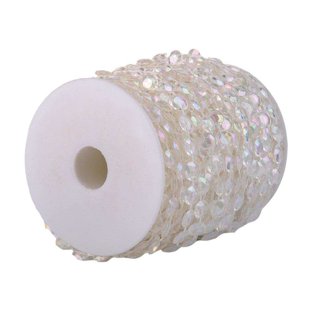 fourseasons Rotolo Perline di Cristallo Acrilico Trasparente Tenda per Matrimonio Fai da Te Decorazione per Feste con Fili di Perline di Cristallo Acrilico Trasparente