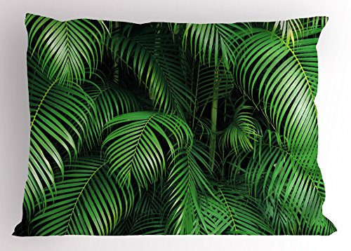 (Ambesonne Green Pillow Sham by, Tropical Exotic Palm Tree Leaves Branches Botanical Photo Jungle Garden Nature Eco Theme, Decorative Standard Size Printed Pillowcase, 26 X 20 Inches,)