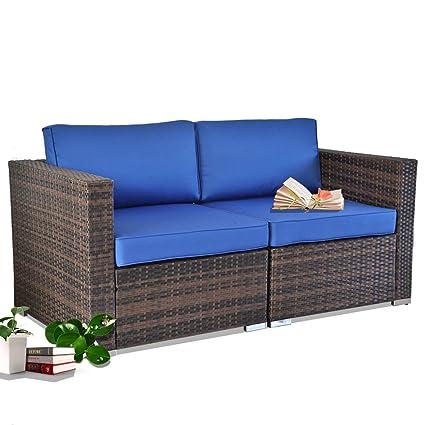 Leaptime Patio Furniture Sectional Sofas Brown Rattan Royal Blue Cushion  Garden Conversation Couch Set 2pcs Corner Sofas Lover Set