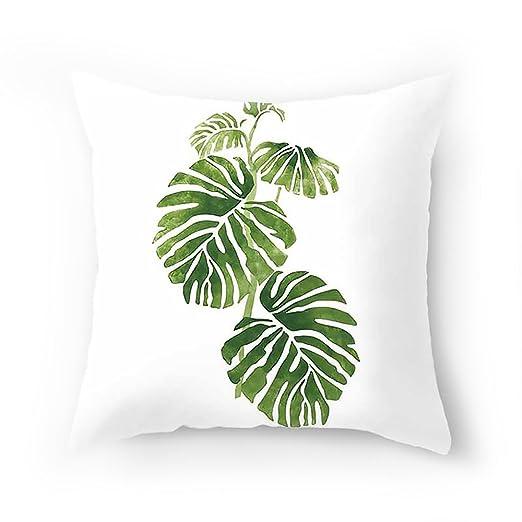 VEVICE 1 Funda de CojíN Cuadrada Hojas Color Verde Tropical Sofá Interior y Exterior Decoración del Hogar AlgodóN Funda Cojines Estampado (A,45x45CM)