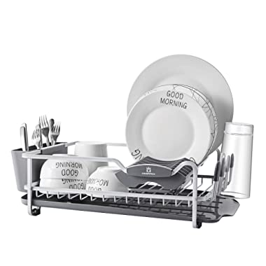 Aluminum Dish Rack with Expandable Over the Sink, In Sink Dish Drying Rack and Drain Broad, Removable Cutlery Holder, Anti-scratch Cup Holder (112040)