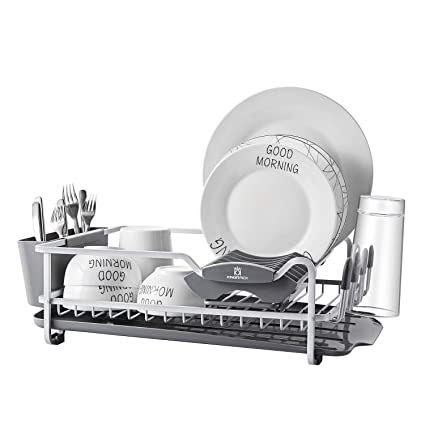 ef90d1faac8d Amazon.com: Aluminum Dish Rack with Expandable Over the Sink, In Sink Dish  Drying Rack and Drain Broad, Removable Cutlery Holder, Anti-scratch Cup  Holder ...