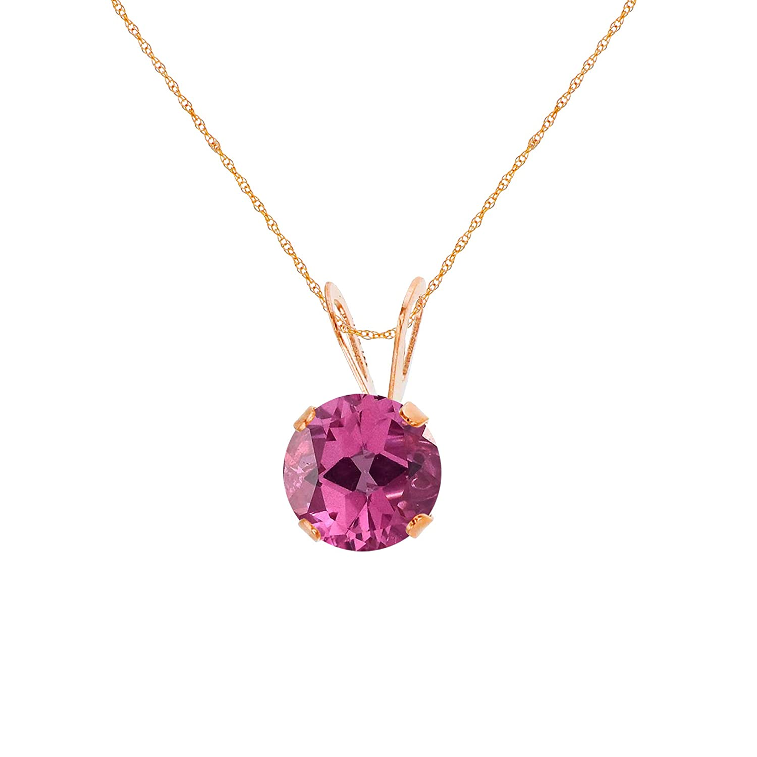 White Solid 10K Yellow Rose Gold 4mm Round Genuine Or Created Gemstone Birthstone 18 Rope Chain Necklace