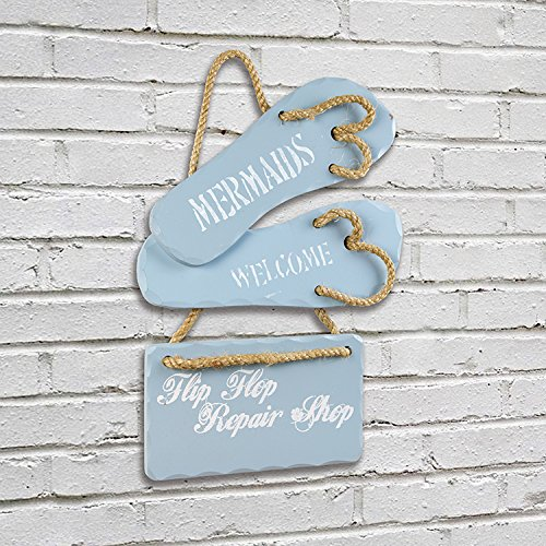 OHIO WHOLESALE Mermaids Welcome Flip Flop Repair Shop Decorative Hanging Wall Sign 17 x 12