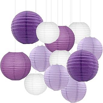f/ête pr/énatale ou No/ël Violet royal bleu mariage UNIQOOO Ensemble de 18/lanternes en papier /à suspendre r/éutilisables dans 5/tailles assorties Faciles /à assembler Pour anniversaire