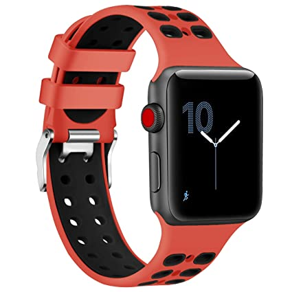 Red Sport Edition Band for Apple Watch 38mm,Soft Silicone Sport Strap Replacement Bands with Classic Square Stainless Steel Dual Buckles for iWatch ...