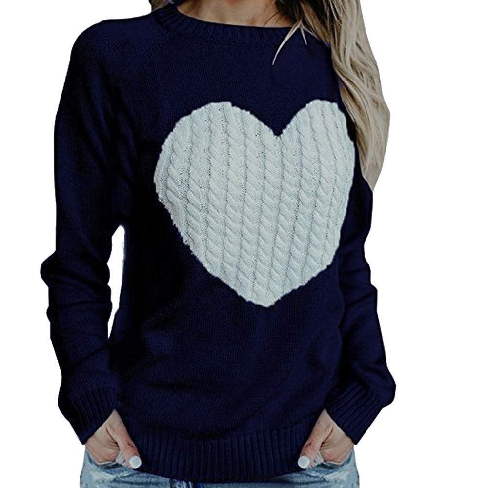 Pervobs Women Loose Sweater Solid Long Sleeve Love Print Knitwear Pullover Sweater