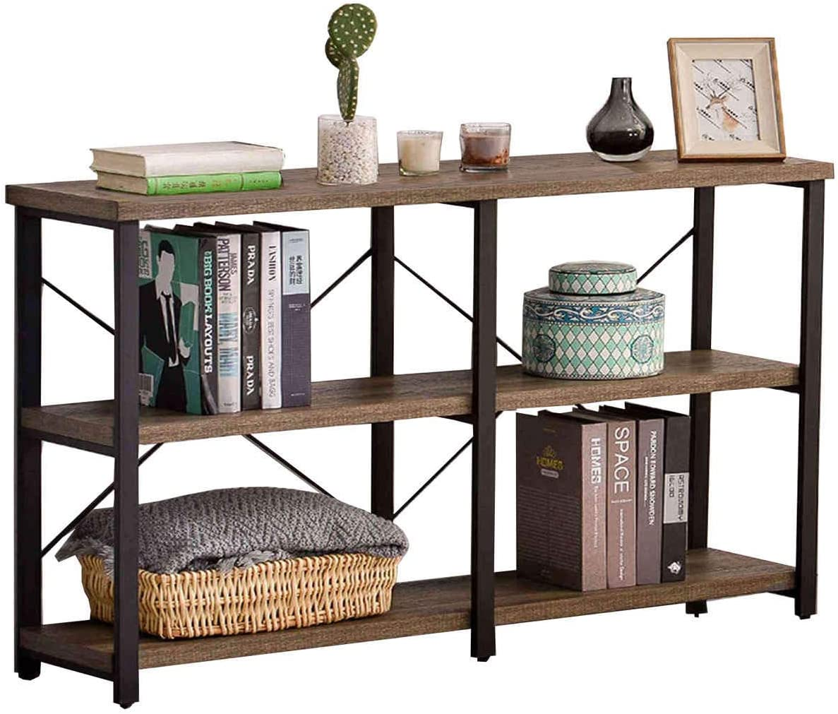 GRELO HOME Foyer Tables for Entryway, Rustic Long Console Table for Living Room, 3-Tier Industrial Sofa Table, 71 Inch Gray Oak