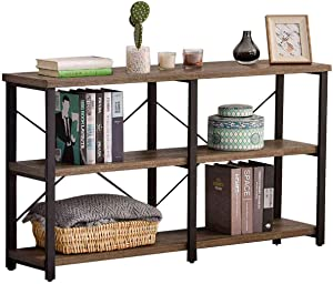 GRELO HOME Foyer Table for Entryway, Rustic Long Console Table for Living Room, 3-Tier Industrial Sofa Table, 71 Inch Gray Oak