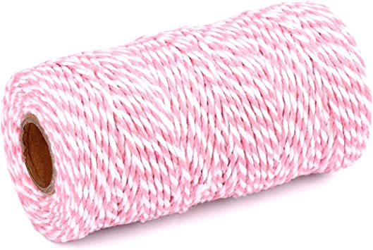 Bakers Light Pink White Teal Twisted Twine ~ 20 Yards