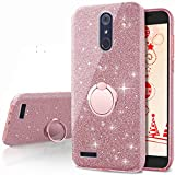 zte imperial cell phone covers - ZTE ZMax Pro Case, ZTE Carry Z981 Case, Silverback Girls Bling Glitter Sparkle Case With Stand, 3 Layers Cover for ZTE Imperial Max Z963U / ZTE Blade Max 3 Z986 / Max XL N9560 / Blade X Max -Rose Gold