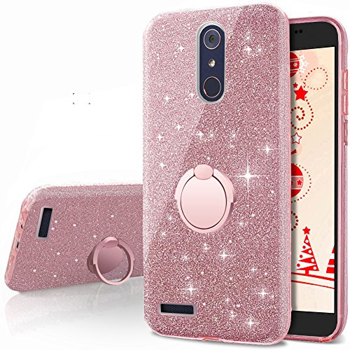 ZTE ZMax Pro Case, ZTE Carry Z981 Case, Silverback Girls Bling Glitter Sparkle Case With Stand, 3 Layers Cover for ZTE Imperial Max Z963U / ZTE Blade Max 3 Z986 / Max XL N9560 / Blade X Max -Rose Gold