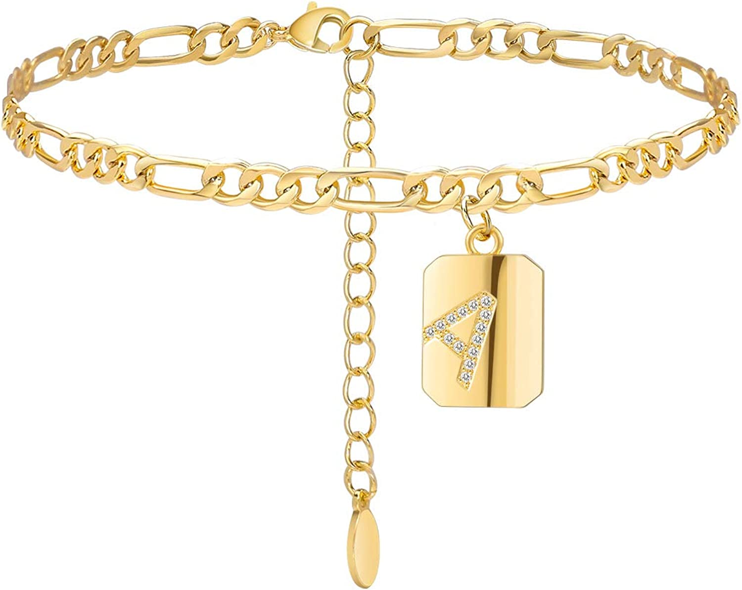 Estendly Initial Anklet 14k Gold Plated 4mm Figaro Chain Square Charm Ankle Bracelet 26 Letters Alphabets Friendship Jewelry for Women