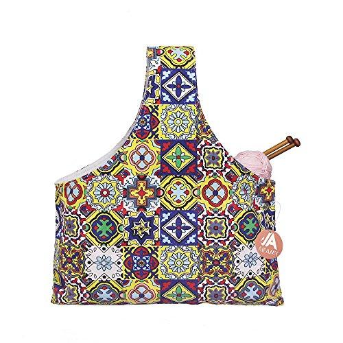 Knitting Tote Bag Yarn Storage Organizer for Small Projects (Glitzy Frescoes) by A AIFAMY