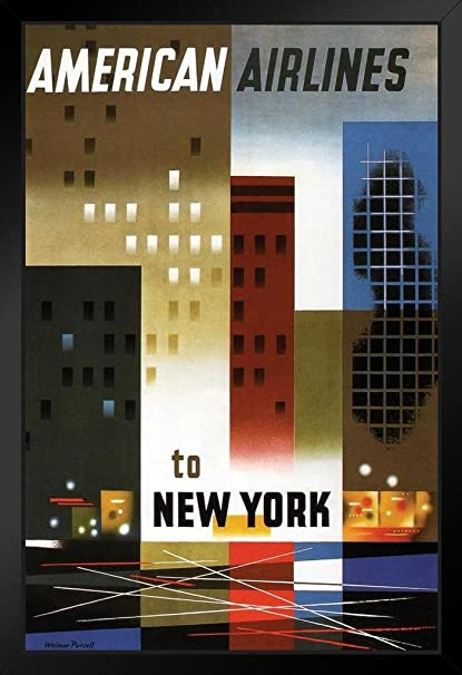 Amazon com: American Airlines to New York Vintage Travel Art