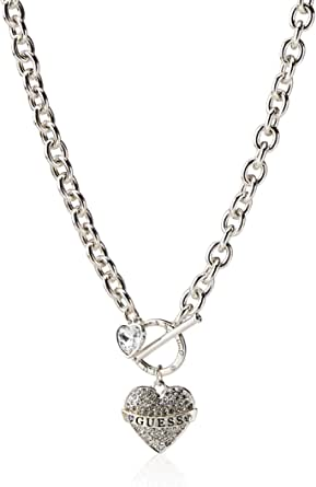 GUESS Women's Pave Heart with Logo Banner Pendant Toggle Necklace