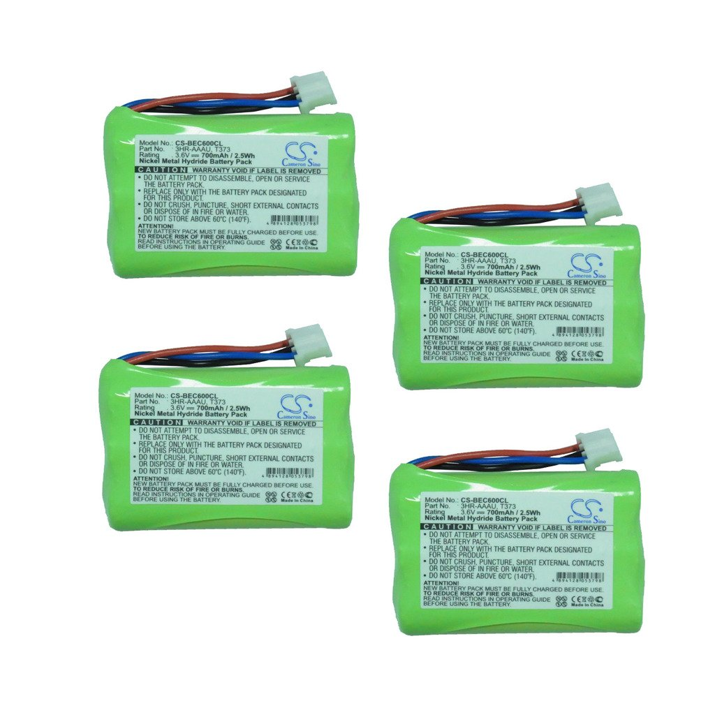 Cameron Sino 4-Pack 3.6V Ni-MH 700mAh Rechargeable Cordless Phone Battery Replacement for Bang & Olufsen 3HR-AAAU 70AAAH3BMXZ T373 Home Handset Telephone