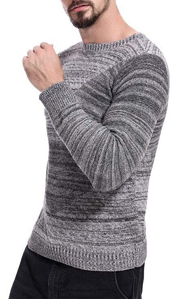XiaoTianXinMen XTX Mens Knitted Casual Round Neck Long Sleeve Regular Fit Pullover Sweaters Jumper