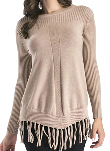 850102d330e08a Image Unavailable. Image not available for. Color  GAGA Women s Classic  Solid Color Bottom Tassel Knit Sweater ...
